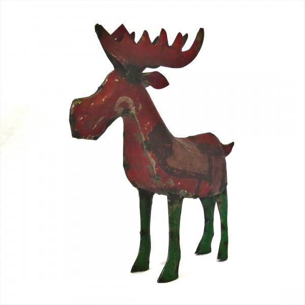 Teelichthalter Elch Hirsch Standfigur Weihnachten Deko Metall Retro Rot Grün Handmade Varios 37 cm